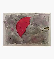 The flying red Umbrella - Der fliegende rote Regenschirm Photographic Print