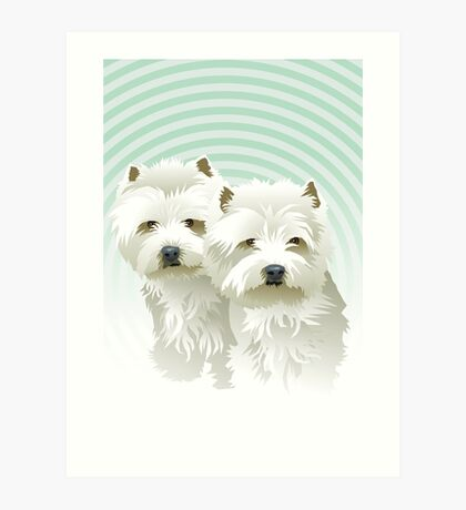westies (mother and daughter) Art Print