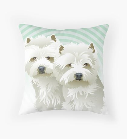 westies (mother and daughter) Throw Pillow
