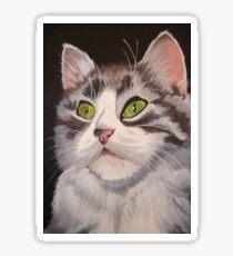 Long Haired Tabby Cat Portrait Sticker