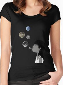 Blowing planets Women's Fitted Scoop T-Shirt