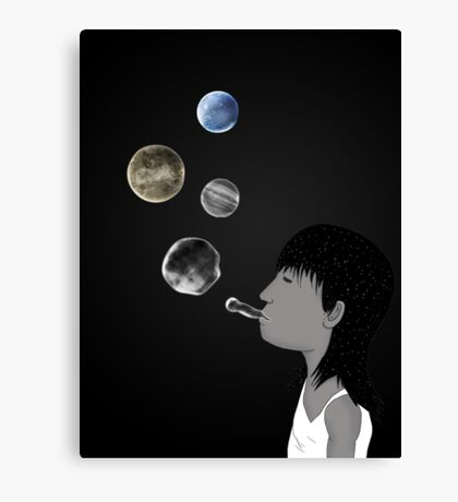 Blowing planets Canvas Print