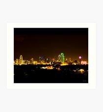 Dallas Skyline at Night Art Print