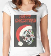 Sugar Skull- Happy Christmas Women's Fitted Scoop T-Shirt
