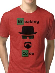 Breaking Code - Black/Green on White Bad Parody Design for Hackers Tri-blend T-Shirt