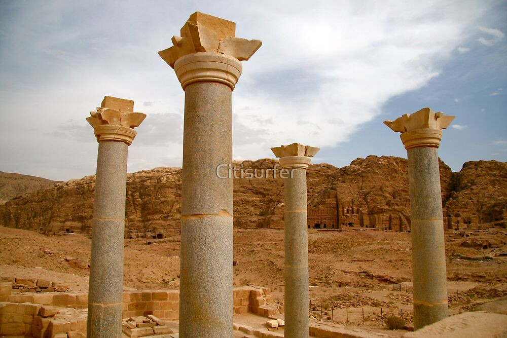 Blue Pillars in Petra by Citisurfer