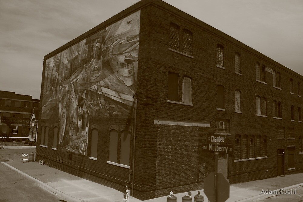 Mural by the Galesburg, IL train station. by Adam Kuehl