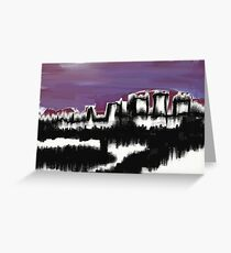 Abstract Cityscape over water Greeting Card