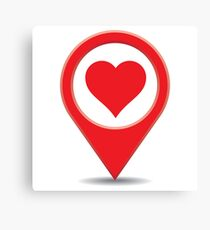 Love map pin - find love! Canvas Print
