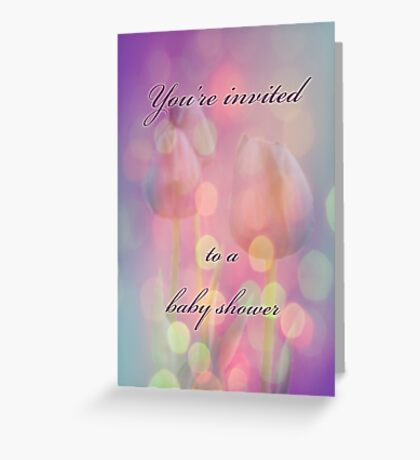 Baby Shower Invitation - Bokeh Tulips Greeting Card