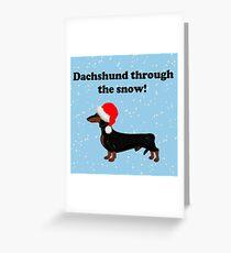 Dackel durch den Schnee Grußkarte