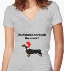 Dachshund Through the Snow Women's Fitted V-Neck T-Shirt