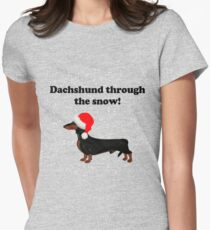Dachshund Through the Snow Women's Fitted T-Shirt