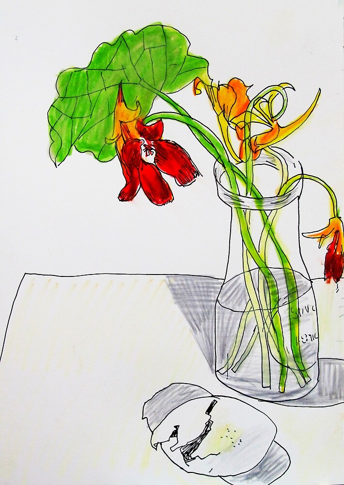 dying Nasturtiums and croc eggshell by donna malone