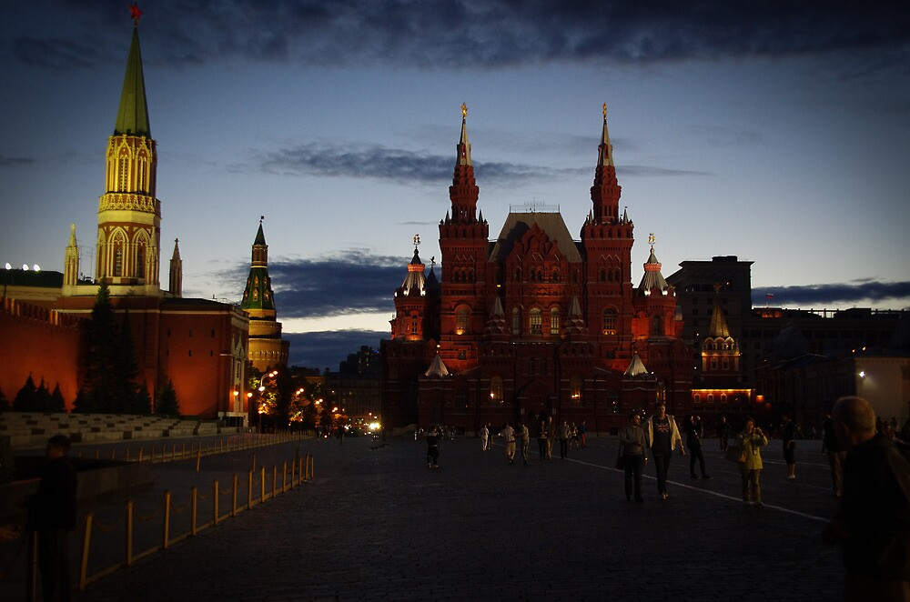 Russia, Moscow, 2012 - Red Square and Heritage Musuem by Night by Derek  Rogers