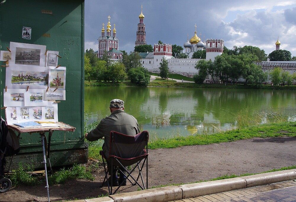 Russia, Moscow, 2012 - Novodevichy Convent and Painter by Derek  Rogers