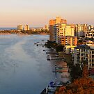 Maroochy River In The Setting Sun. Maroochydore, Qld, Australia. by Ralph de Zilva