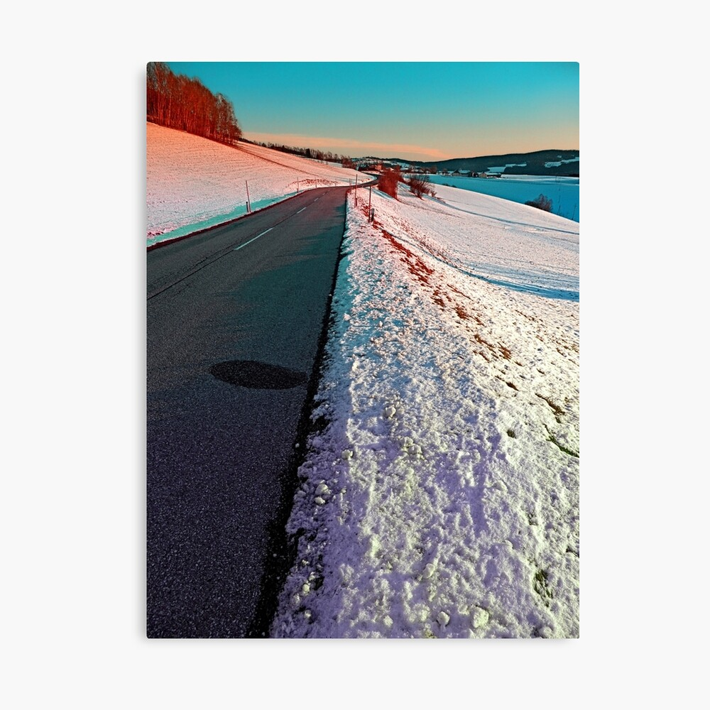 Winter road in vibrant colors Canvas Print