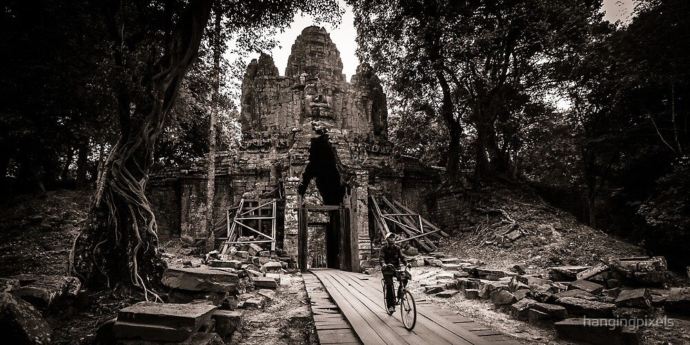 Villager at Angkor Thom West Gate by hangingpixels