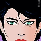 Pop Art Illustration of Beautiful Woman Kirra by Frank Schuster