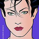 Pop Art Illustration of Beautiful Woman Sara by Frank Schuster