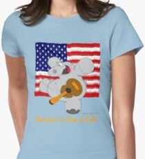 Hippo Rockin in the USA Womens Fitted T-Shirt