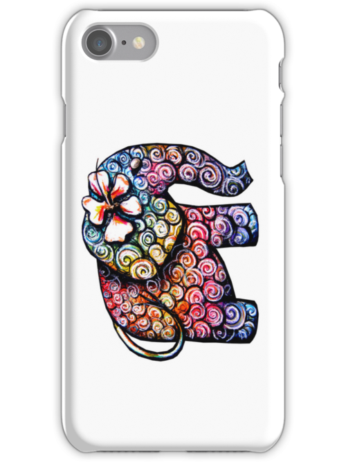 tattoo elephant iPhone Case by © Karin Taylor