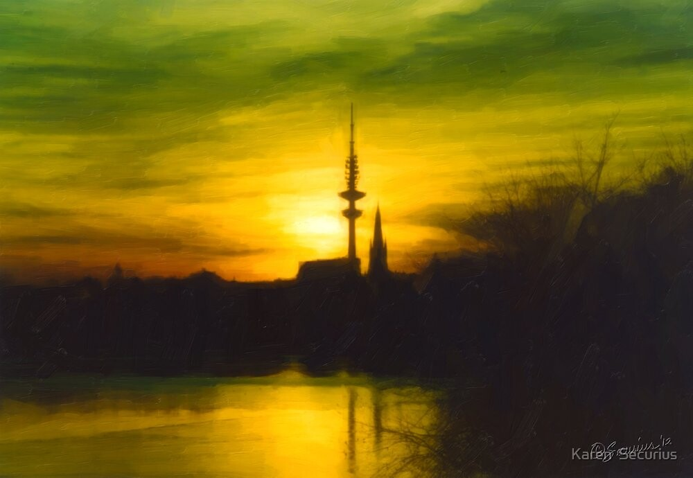 Green Alster oil01 by Karen  Securius