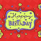 Happy Birthday Doodle Red Girly Greeting Card by tashtee