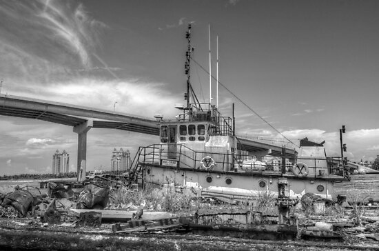 """""""Big Crab"""" docked on a rusty floating dock at Potter's Cay in Nassau, The Bahamas by Jeremy Lavender Photography"""