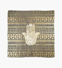 Faux Print Gold Hamsa Hand and Tribal Aztec Scarf