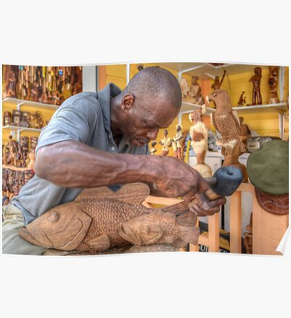 Bahamian Sculptor carving the Wood at the Straw Market in Nassau Poster