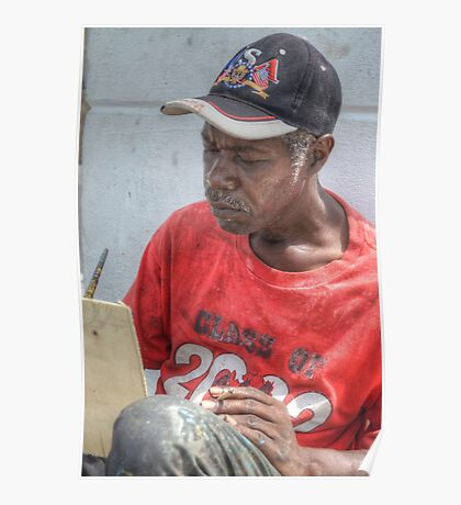 Street Painter Artist in Nassau, The Bahamas Poster