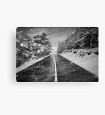 Snowstorm in the road Canvas Print