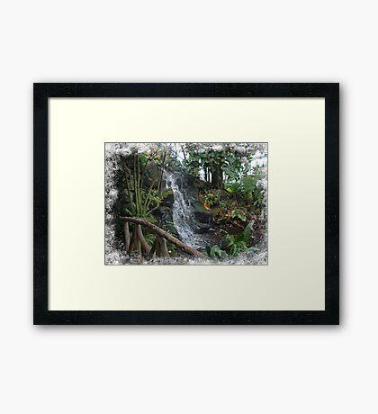 Footbridge and Waterfall at Ott's Garden Center - Schwenskville PA Framed Print
