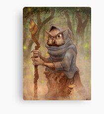 Ugla the Owl Wizard Metal Print