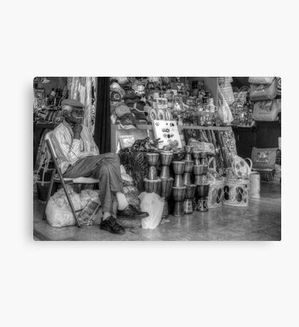 Straw Market Vendor in Nassau, The Bahamas Canvas Print