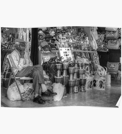 Straw Market Vendor in Nassau, The Bahamas Poster
