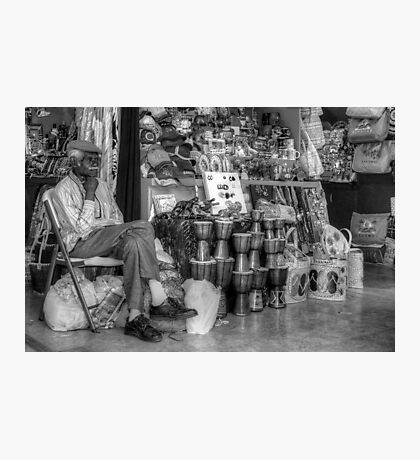 Straw Market Vendor in Nassau, The Bahamas Photographic Print