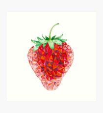 Low Poly Watercolor Strawberry Art Print