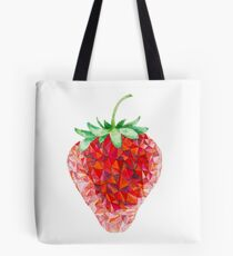 Low Poly Watercolor Strawberry Tote Bag