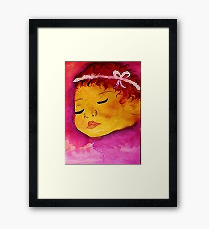 Sweet baby girl, watercolor Framed Print