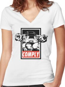 Obey ED-209 Women's Fitted V-Neck T-Shirt