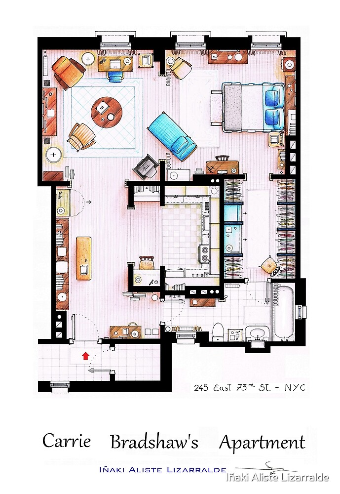 carrie bradshaw 39 s apartment floorplan v 2 by i aki