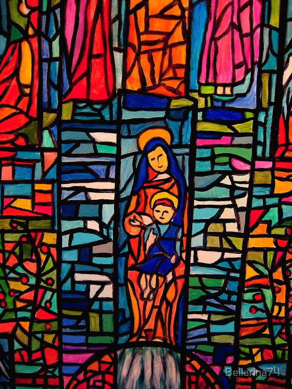 Quot Nativity Mosaic The Virgin Mary And Jesus Quot Canvas