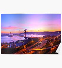 Tsing Ma Bridge at sunset moment in Hong Kong Poster