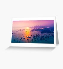 Sunset coast in container terminal and bridges  Greeting Card