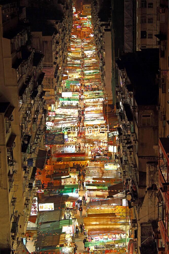 Temple Street in Hong Kong at night by kawing921