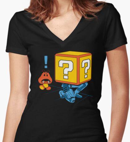 SUPER SNAKE BROS! Women's Fitted V-Neck T-Shirt