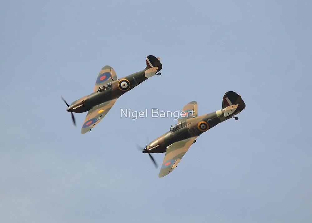 Hawker Hurricane MK12A and Supermarine Spitfire MK1 by Nigel Bangert